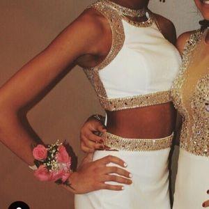 FAVIANA S7926 Lace Up 2 Piece Prom Dress